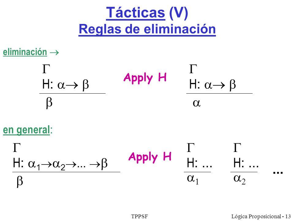 TPPSFLógica Proposicional - 13 Tácticas (V) Reglas de eliminación Apply H H : H : Apply H H : 1 2... H :... H :...... en general : eliminación