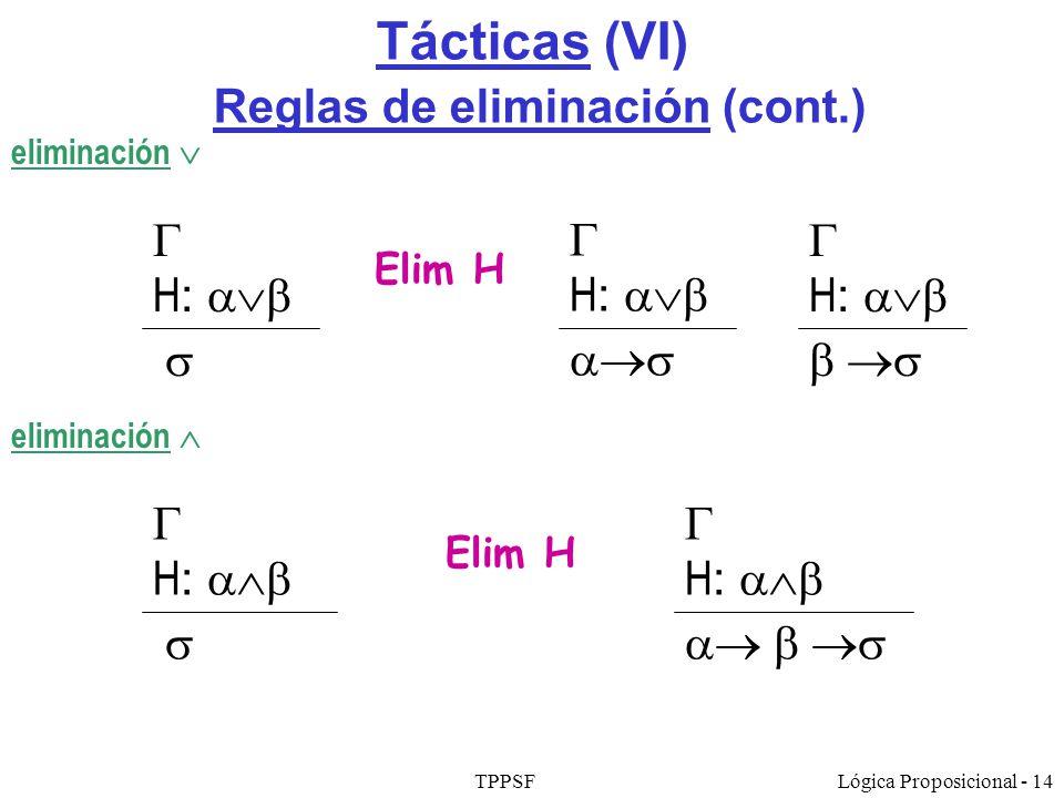 TPPSFLógica Proposicional - 14 Tácticas (VI) Reglas de eliminación (cont.) eliminación Elim H H : H : eliminación Elim H H : H : H :