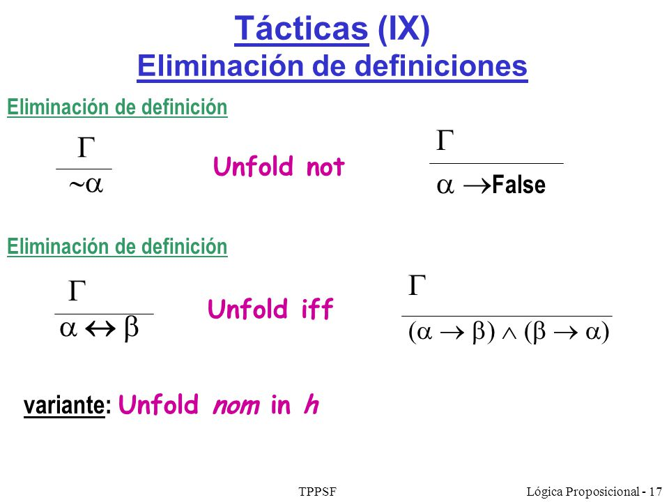 TPPSFLógica Proposicional - 17 Tácticas (IX) Eliminación de definiciones Eliminación de definición Unfold not False Eliminación de definición Unfold i