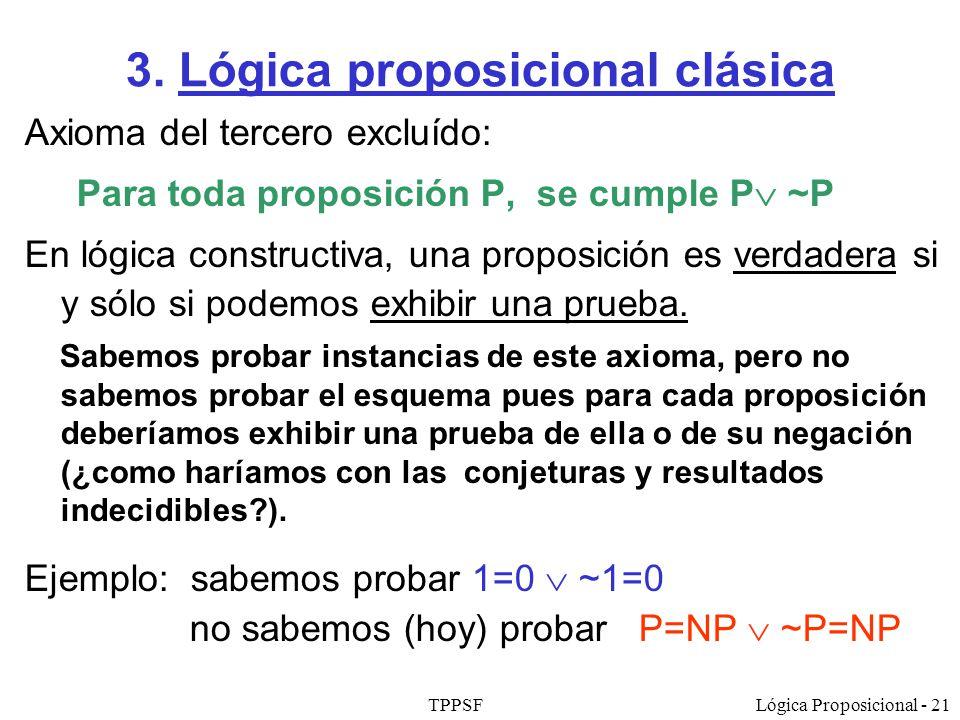 TPPSFLógica Proposicional - 21 3. Lógica proposicional clásica Axioma del tercero excluído: Para toda proposición P, se cumple P ~P En lógica construc