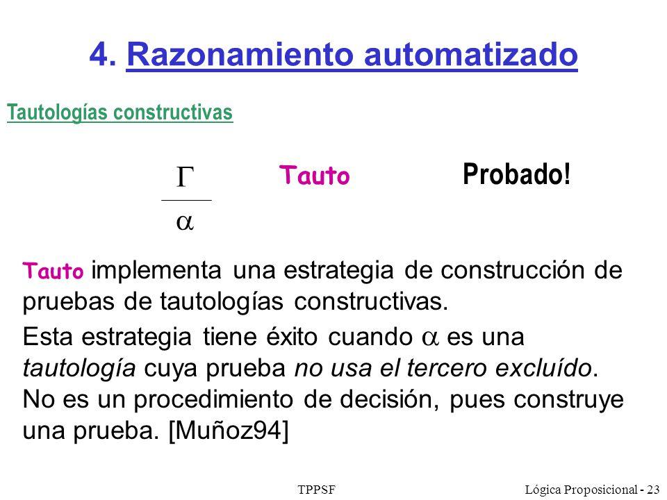 TPPSFLógica Proposicional - 23 4. Razonamiento automatizado Tauto Probado! Tautologías constructivas Tauto implementa una estrategia de construcción d