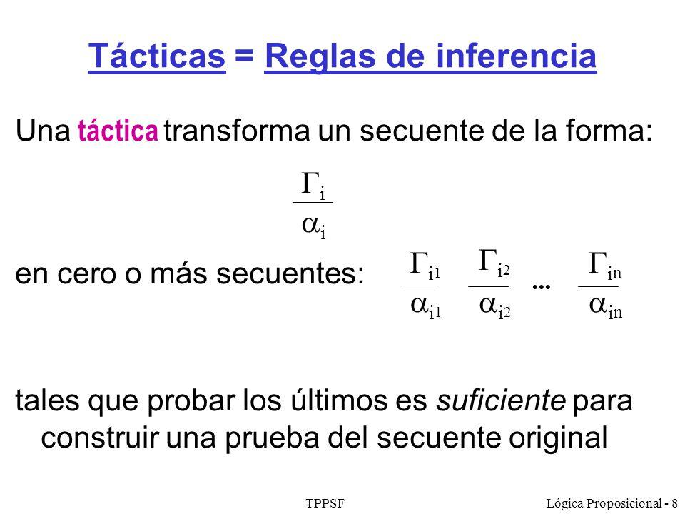 TPPSFLógica Proposicional - 8 Tácticas = Reglas de inferencia Una táctica transforma un secuente de la forma: en cero o más secuentes: tales que proba