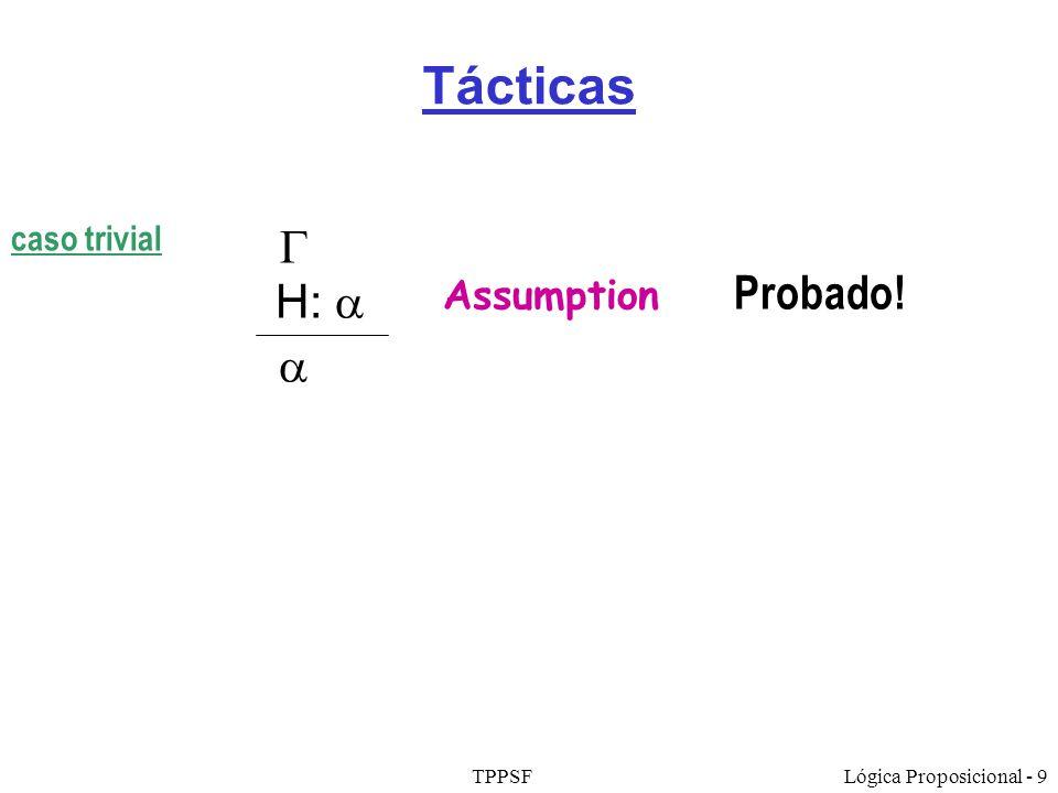 TPPSFLógica Proposicional - 9 Tácticas Assumption H: Probado! caso trivial