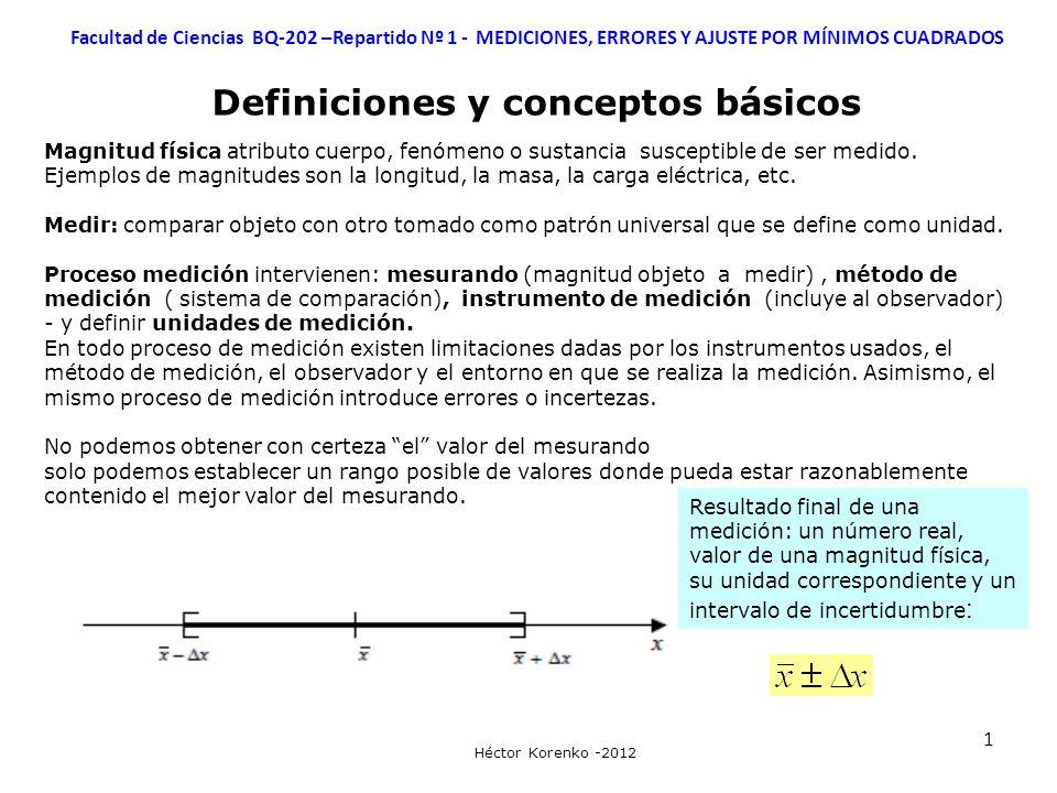 12 Facultad de Ciencias BQ-202 –Repartido Nº 1 - MEDICIONES, ERRORES Y AJUSTE POR MÍNIMOS CUADRADOS Héctor Korenko -2012 AJUSTE POR MÍNIMOS CUADRADOS - REGRESIÓN LINEAL O LINEALIZACIÓN Funciones no lineales que se pueden linealizar: cambio de variables Exponencial Potencial Racional