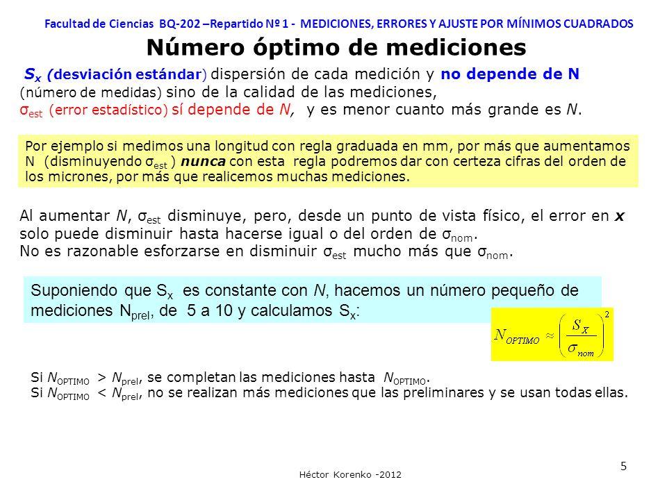 5 Facultad de Ciencias BQ-202 –Repartido Nº 1 - MEDICIONES, ERRORES Y AJUSTE POR MÍNIMOS CUADRADOS Héctor Korenko -2012 Número óptimo de mediciones S x (desviación estándar) dispersión de cada medición y no depende de N (número de medidas) sino de la calidad de las mediciones, σ est (error estadístico) sí depende de N, y es menor cuanto más grande es N.