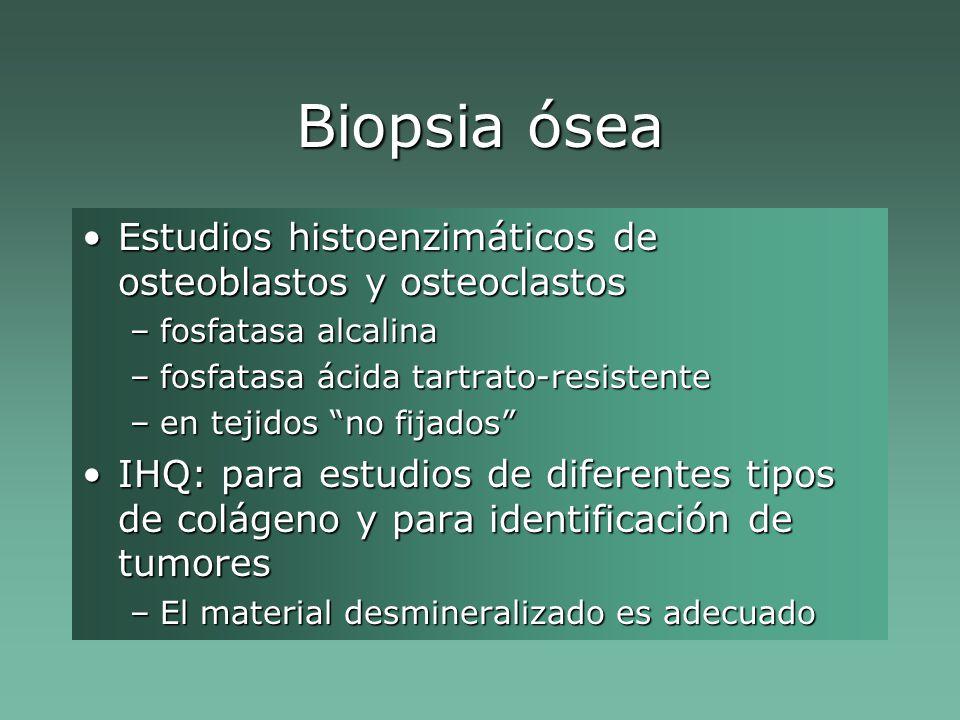Biopsia ósea Estudios histoenzimáticos de osteoblastos y osteoclastosEstudios histoenzimáticos de osteoblastos y osteoclastos –fosfatasa alcalina –fosfatasa ácida tartrato-resistente –en tejidos no fijados IHQ: para estudios de diferentes tipos de colágeno y para identificación de tumoresIHQ: para estudios de diferentes tipos de colágeno y para identificación de tumores –El material desmineralizado es adecuado