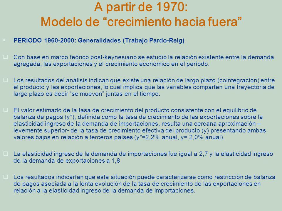 A partir de 1970: Modelo de crecimiento hacia fuera PERIODO 1960-2000: Generalidades (Trabajo Pardo-Reig) Con base en marco teórico post-keynesiano se estudió la relación existente entre la demanda agregada, las exportaciones y el crecimiento económico en el período.