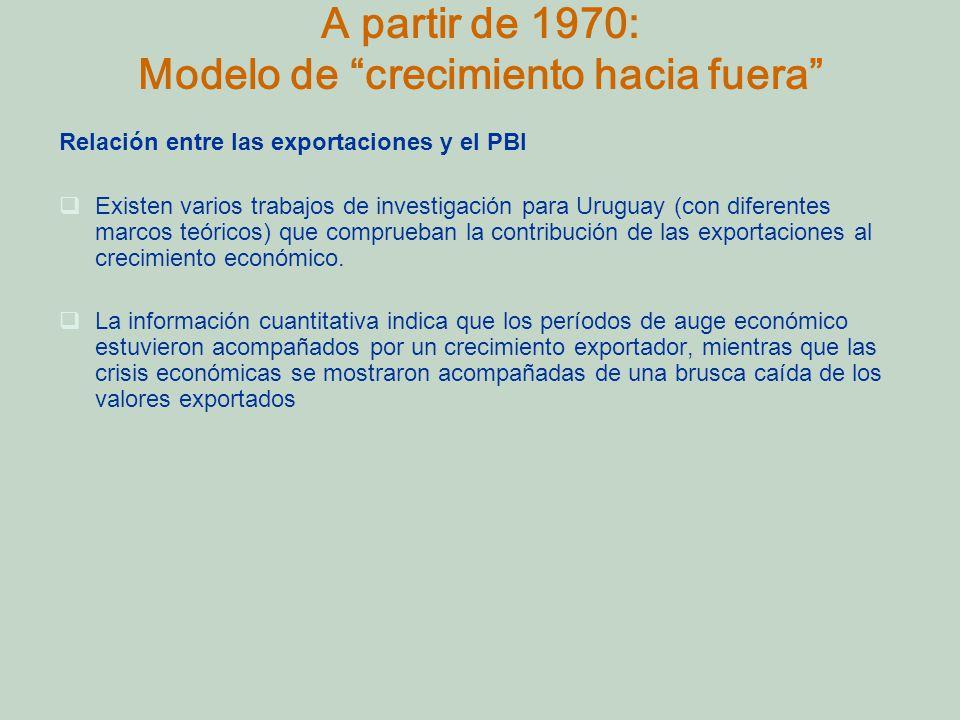 A partir de 1970: Modelo de crecimiento hacia fuera Relación entre las exportaciones y el PBI Existen varios trabajos de investigación para Uruguay (con diferentes marcos teóricos) que comprueban la contribución de las exportaciones al crecimiento económico.