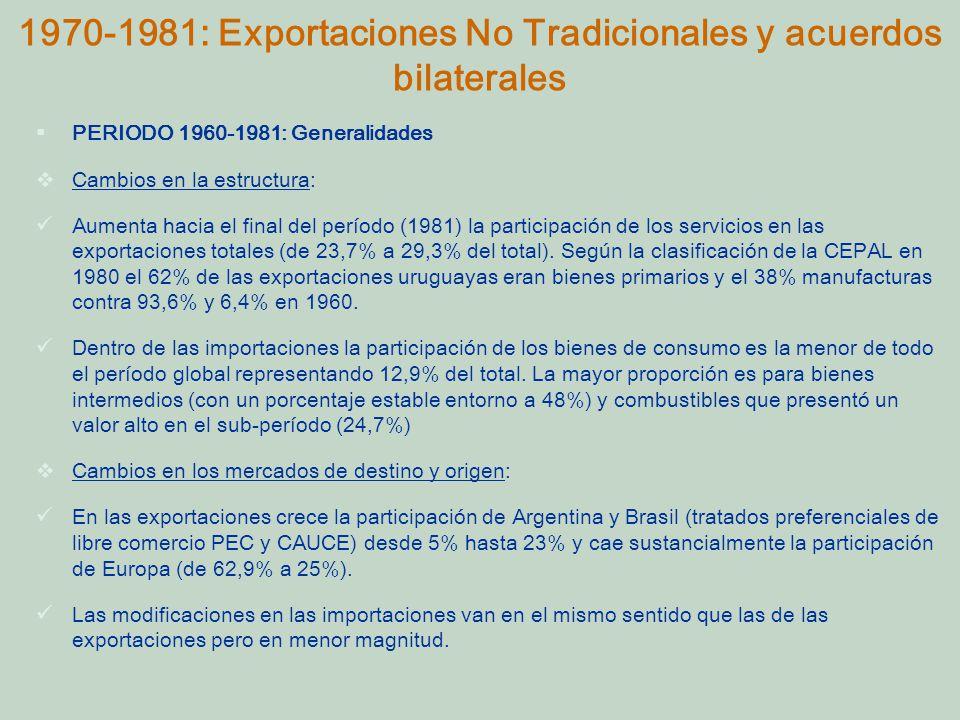 PERIODO 1960-1981: Generalidades Cambios en la estructura: Aumenta hacia el final del período (1981) la participación de los servicios en las exportaciones totales (de 23,7% a 29,3% del total).