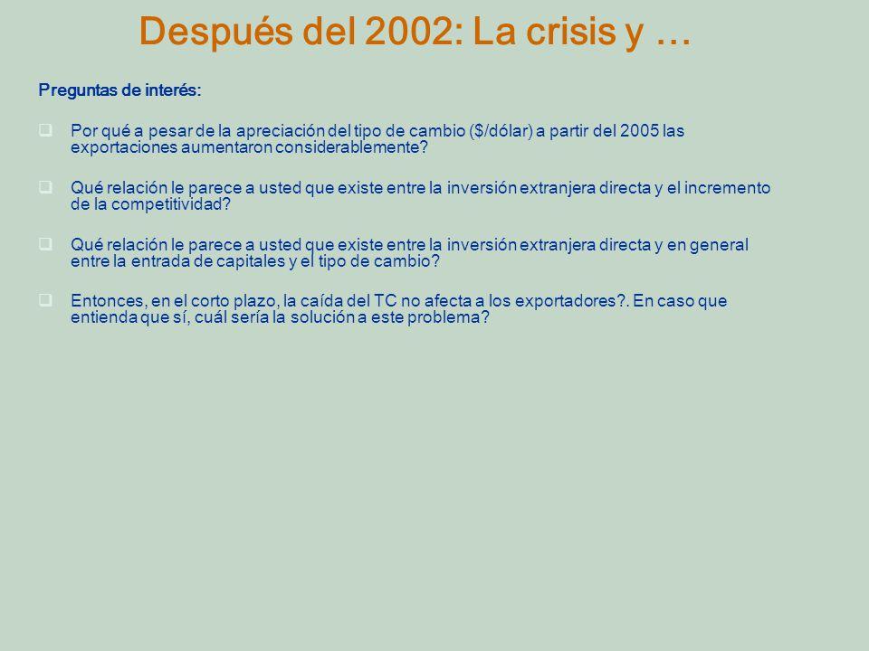 Después del 2002: La crisis y … Preguntas de interés: Por qué a pesar de la apreciación del tipo de cambio ($/dólar) a partir del 2005 las exportaciones aumentaron considerablemente.