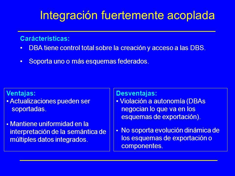 Integración fuertemente acoplada Carácterísticas: DBA tiene control total sobre la creación y acceso a las DBS. Soporta uno o más esquemas federados.