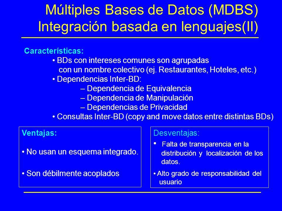 Múltiples Bases de Datos (MDBS) Integración basada en lenguajes(II) Características: BDs con intereses comunes son agrupadas con un nombre colectivo (
