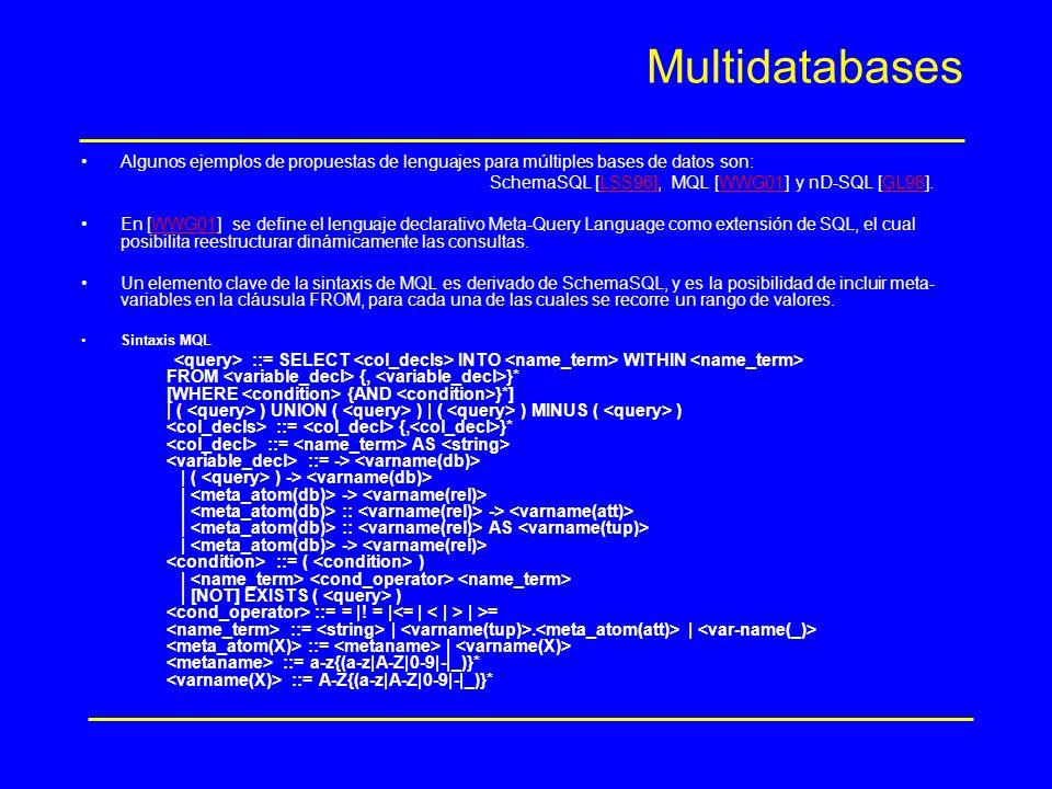 Multidatabases Algunos ejemplos de propuestas de lenguajes para múltiples bases de datos son: SchemaSQL [LSS96], MQL [WWG01] y nD-SQL [GL98].LSS96]WWG