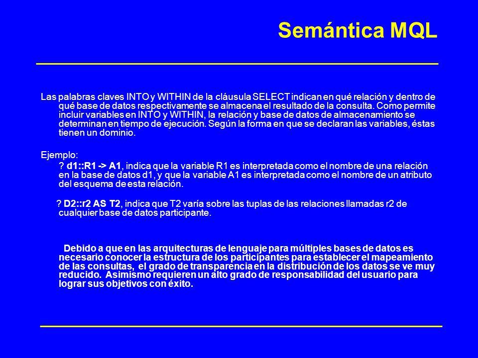Semántica MQL Las palabras claves INTO y WITHIN de la cláusula SELECT indican en qué relación y dentro de qué base de datos respectivamente se almacen