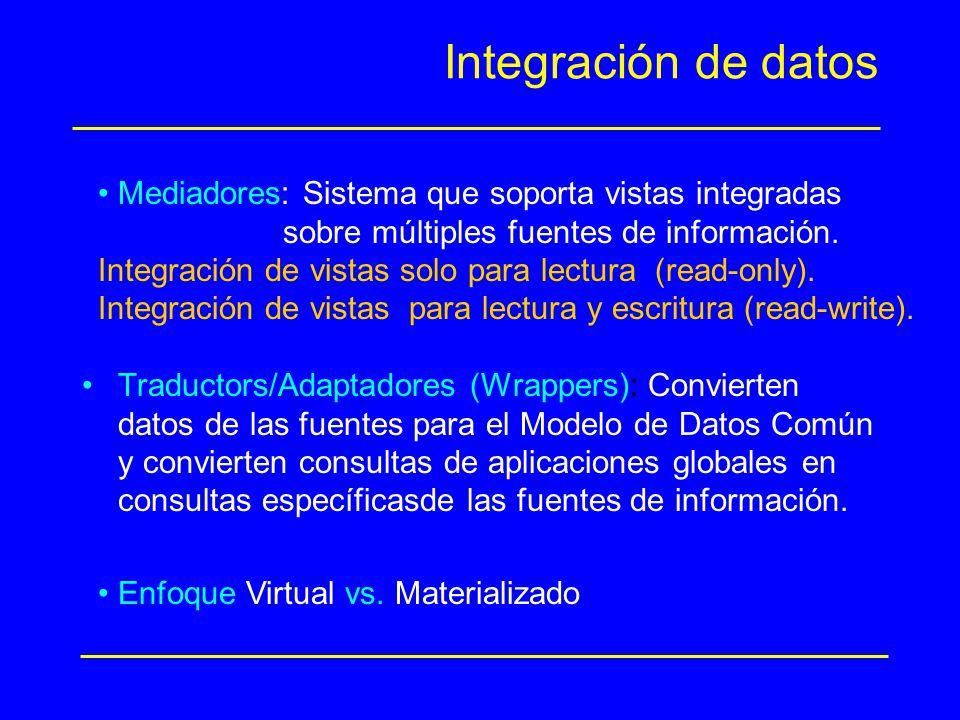 Integración de datos Traductors/Adaptadores (Wrappers): Convierten datos de las fuentes para el Modelo de Datos Común y convierten consultas de aplica