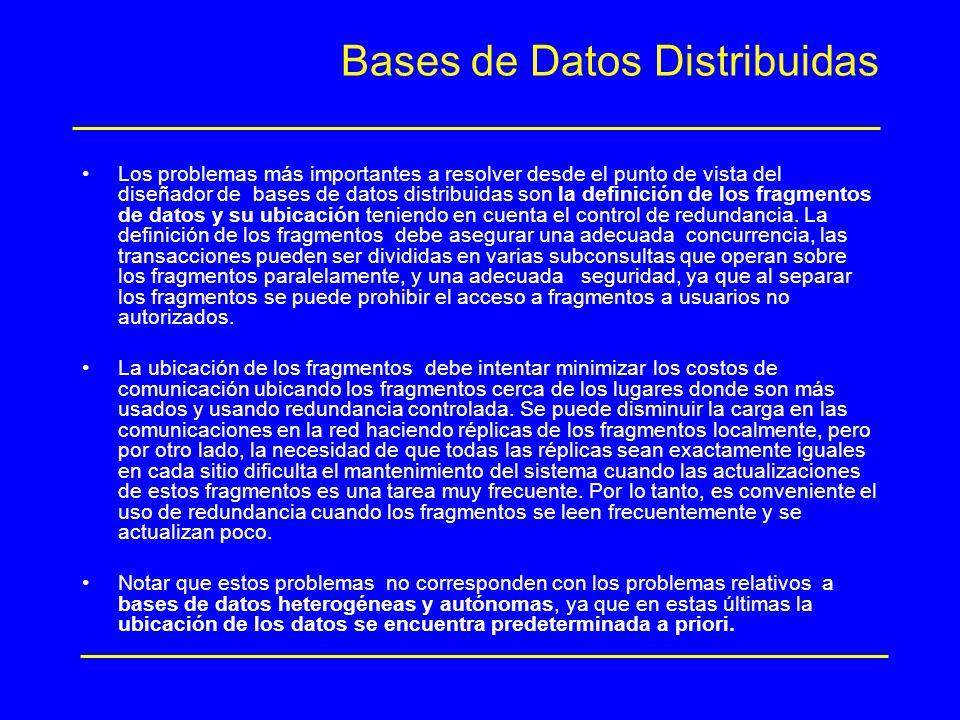 Bases de Datos Distribuidas Los problemas más importantes a resolver desde el punto de vista del diseñador de bases de datos distribuidas son la defin