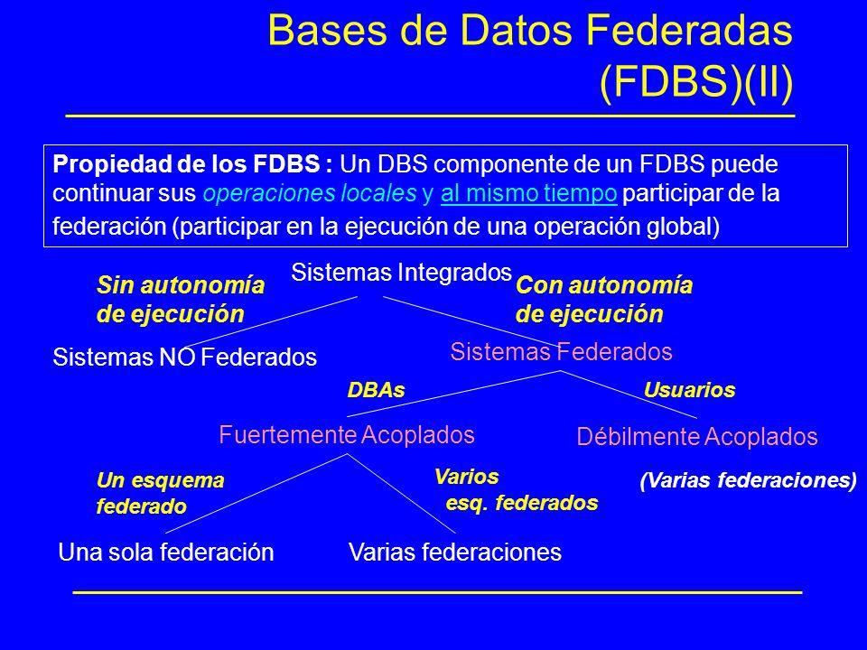 Bases de Datos Federadas (FDBS)(II) Sistemas Integrados Sistemas NO Federados Sistemas Federados Sin autonomía de ejecución Con autonomía de ejecución