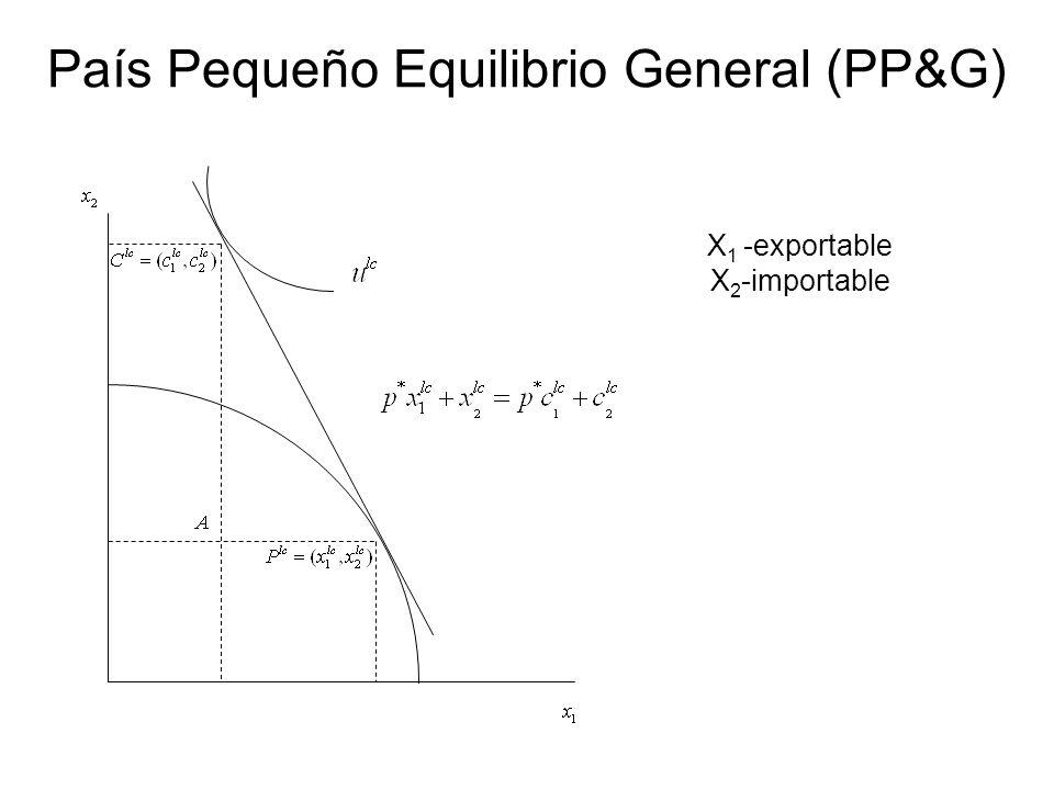 X 1 -exportable X 2 -importable País Pequeño Equilibrio General (PP&G)