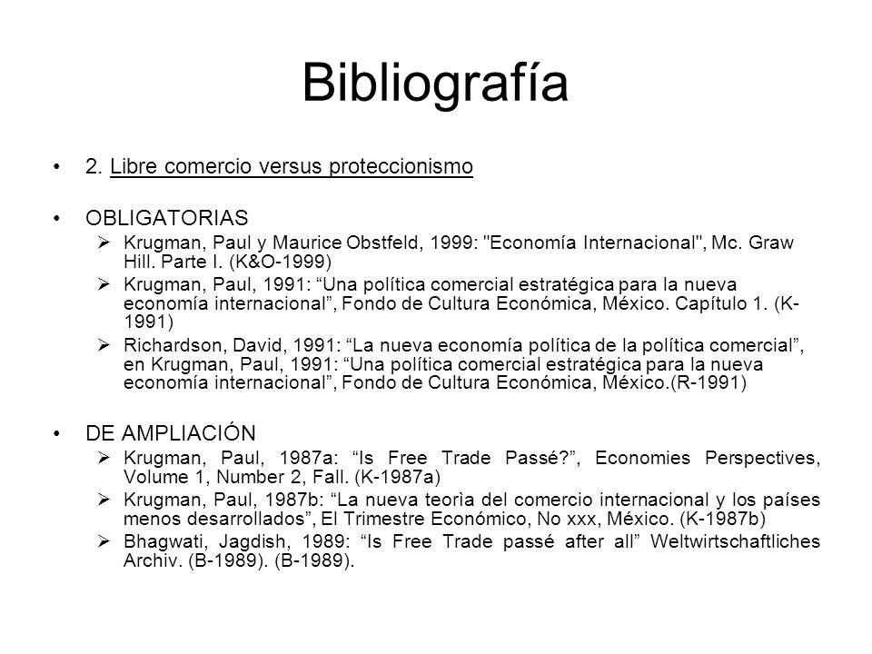 Bibliografía 2. Libre comercio versus proteccionismo OBLIGATORIAS Krugman, Paul y Maurice Obstfeld, 1999: