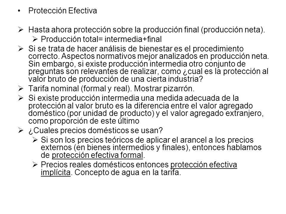 Protección Efectiva Hasta ahora protección sobre la producción final (producción neta). Producción total= intermedia+final Si se trata de hacer anális