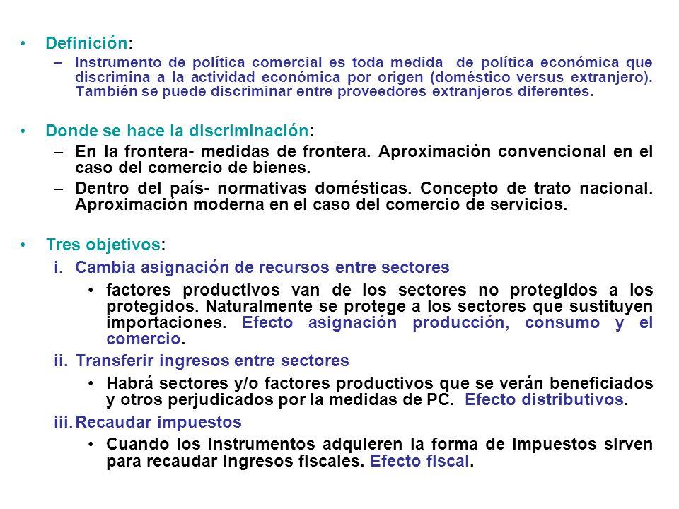 Definición: –Instrumento de política comercial es toda medida de política económica que discrimina a la actividad económica por origen (doméstico vers