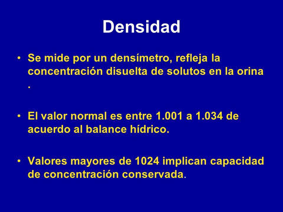 Densidad Se mide por un densímetro, refleja la concentración disuelta de solutos en la orina.
