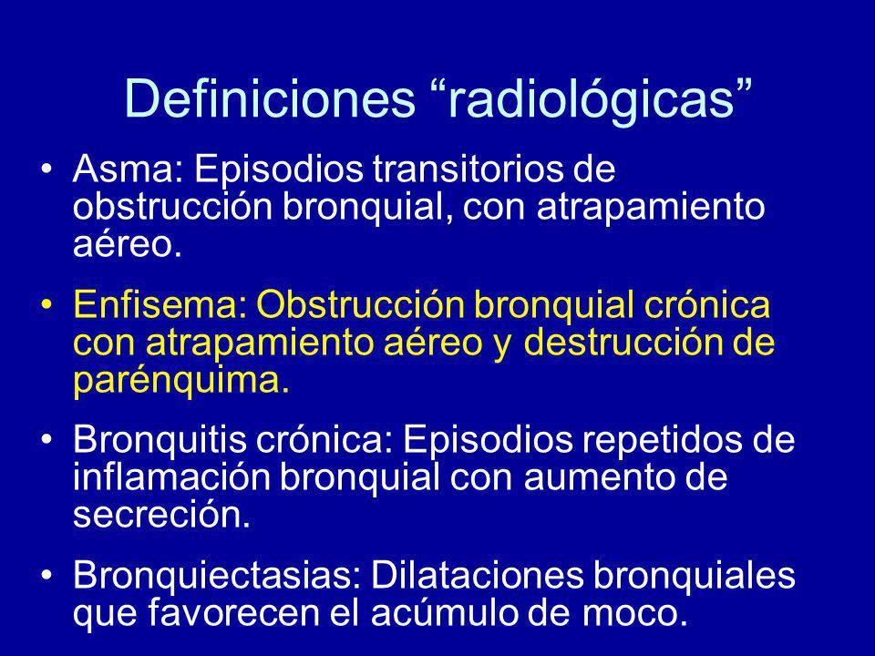 Definiciones radiológicas Asma: Episodios transitorios de obstrucción bronquial, con atrapamiento aéreo.