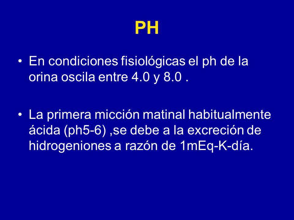 PH En condiciones fisiológicas el ph de la orina oscila entre 4.0 y 8.0.
