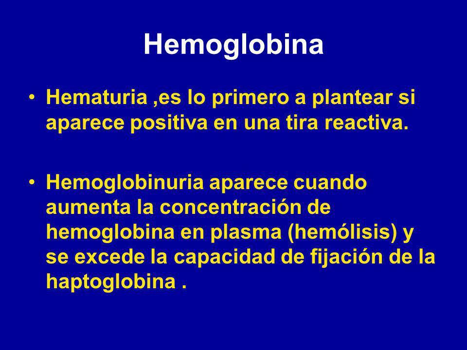 Hemoglobina Hematuria,es lo primero a plantear si aparece positiva en una tira reactiva.