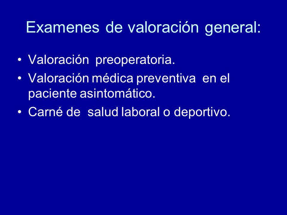 Examenes de valoración general: Valoración preoperatoria.