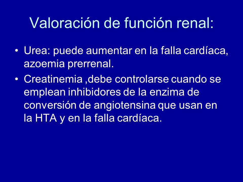 Valoración de función renal: Urea: puede aumentar en la falla cardíaca, azoemia prerrenal.