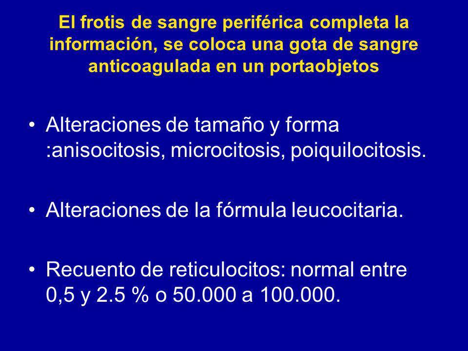 El frotis de sangre periférica completa la información, se coloca una gota de sangre anticoagulada en un portaobjetos Alteraciones de tamaño y forma :anisocitosis, microcitosis, poiquilocitosis.