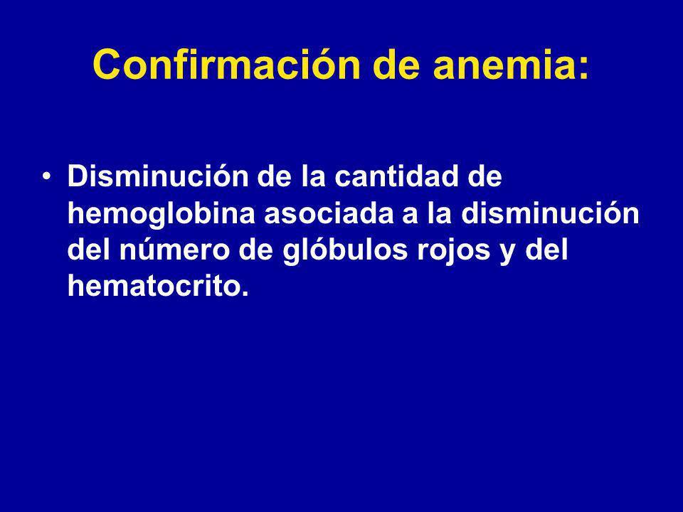 Confirmación de anemia: Disminución de la cantidad de hemoglobina asociada a la disminución del número de glóbulos rojos y del hematocrito.