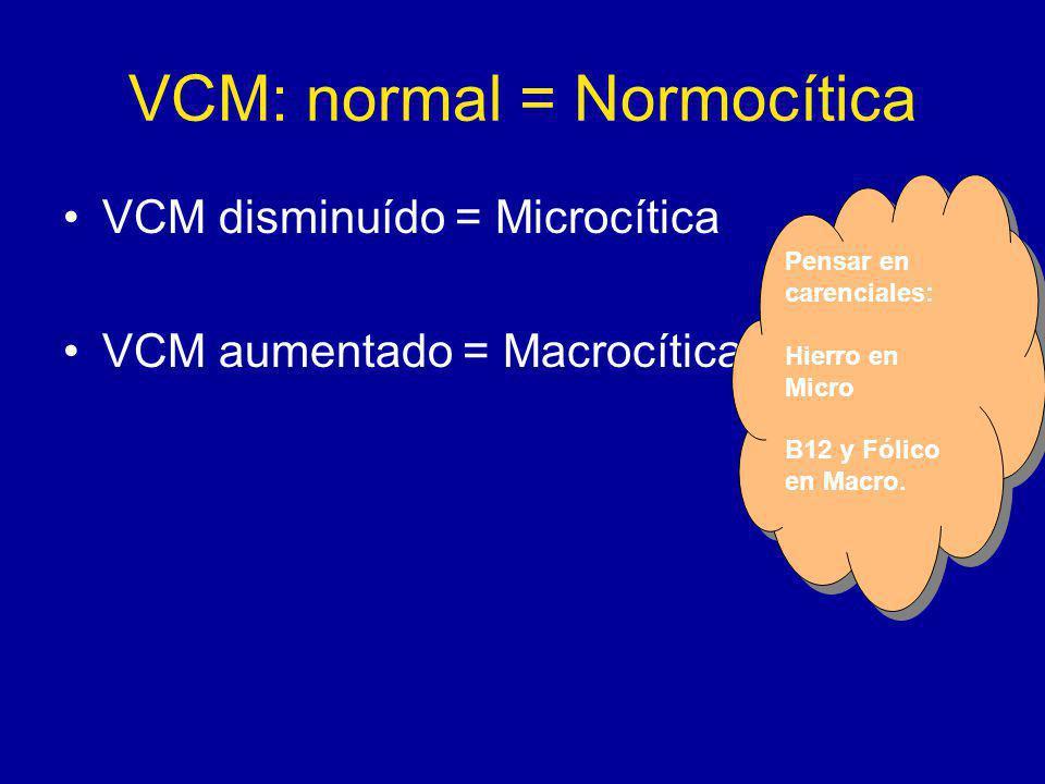 VCM: normal = Normocítica VCM disminuído = Microcítica VCM aumentado = Macrocítica Pensar en carenciales: Hierro en Micro B12 y Fólico en Macro.