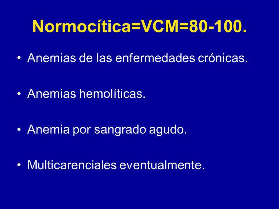 Normocítica=VCM=80-100.Anemias de las enfermedades crónicas.