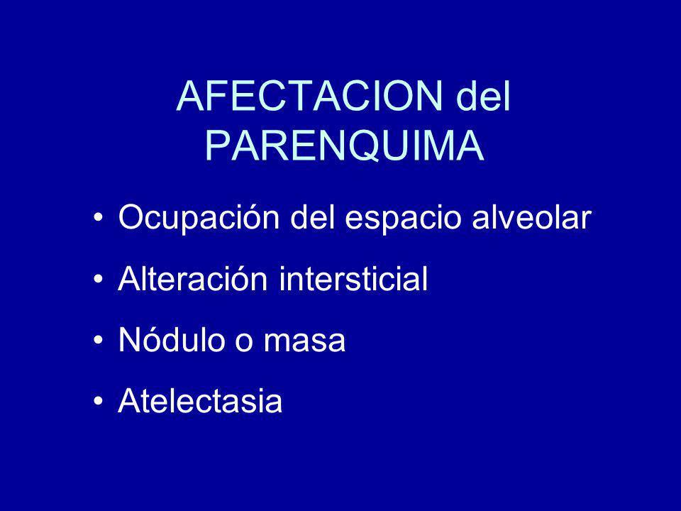 AFECTACION del PARENQUIMA Ocupación del espacio alveolar Alteración intersticial Nódulo o masa Atelectasia