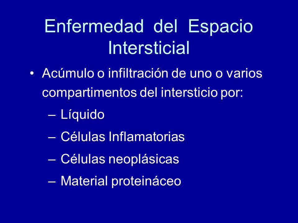 Enfermedad del Espacio Intersticial Acúmulo o infiltración de uno o varios compartimentos del intersticio por: –Líquido –Células Inflamatorias –Células neoplásicas –Material proteináceo