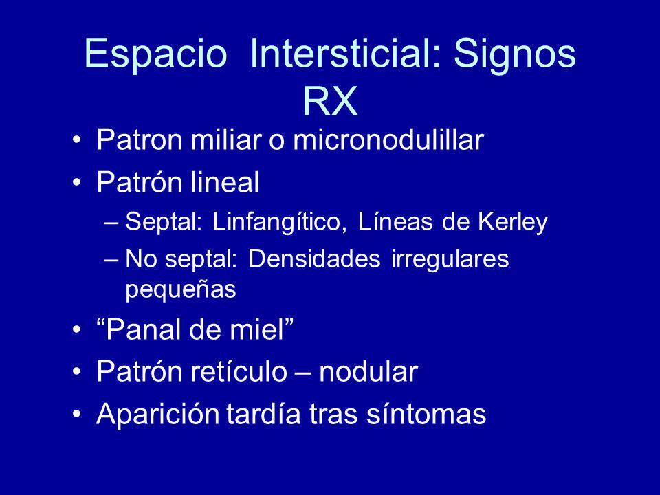 Espacio Intersticial: Signos RX Patron miliar o micronodulillar Patrón lineal –Septal: Linfangítico, Líneas de Kerley –No septal: Densidades irregulares pequeñas Panal de miel Patrón retículo – nodular Aparición tardía tras síntomas