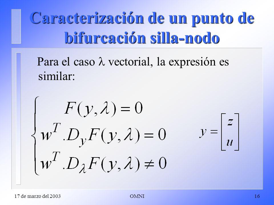 17 de marzo del 2003OMNI16 Caracterización de un punto de bifurcación silla-nodo Para el caso vectorial, la expresión es similar: