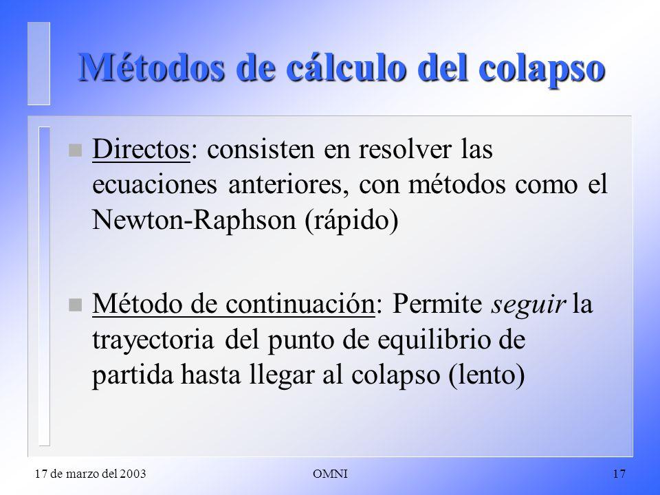 17 de marzo del 2003OMNI17 Métodos de cálculo del colapso n Directos: consisten en resolver las ecuaciones anteriores, con métodos como el Newton-Raphson (rápido) n Método de continuación: Permite seguir la trayectoria del punto de equilibrio de partida hasta llegar al colapso (lento)