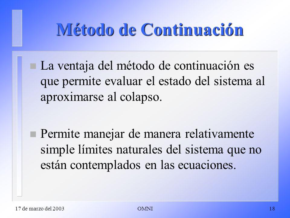 17 de marzo del 2003OMNI18 Método de Continuación n La ventaja del método de continuación es que permite evaluar el estado del sistema al aproximarse al colapso.