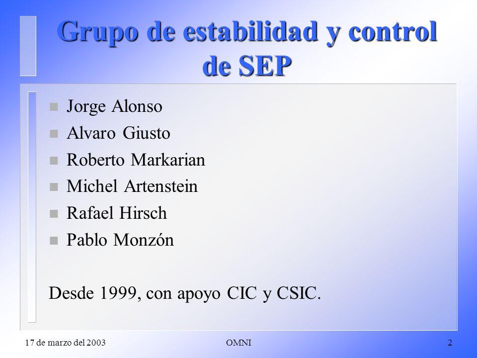 17 de marzo del 2003OMNI2 Grupo de estabilidad y control de SEP n Jorge Alonso n Alvaro Giusto n Roberto Markarian n Michel Artenstein n Rafael Hirsch n Pablo Monzón Desde 1999, con apoyo CIC y CSIC.