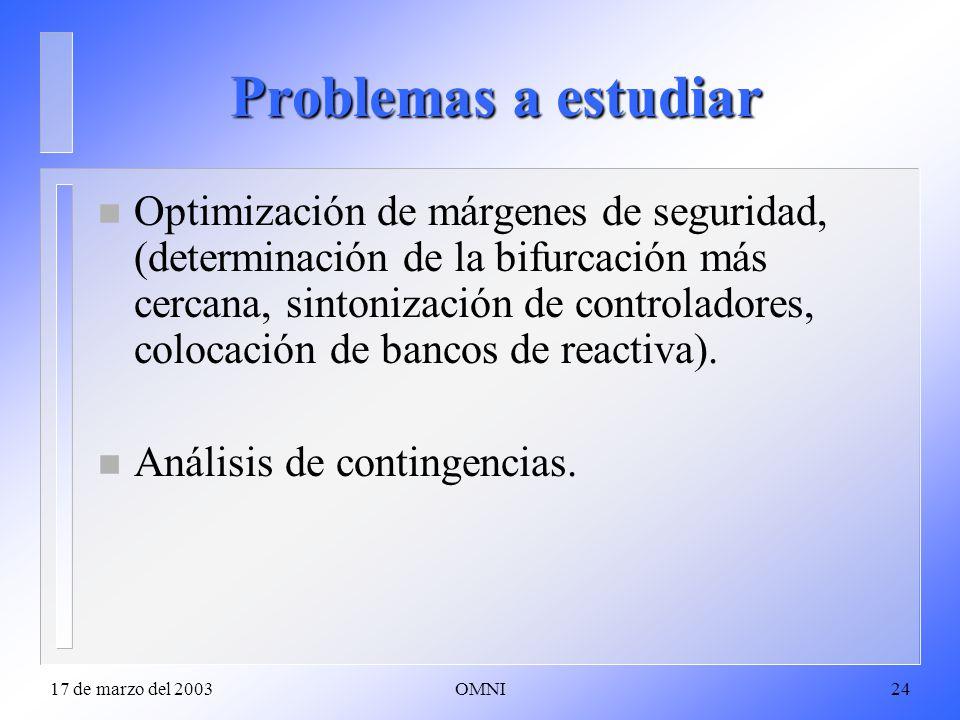 17 de marzo del 2003OMNI24 Problemas a estudiar n Optimización de márgenes de seguridad, (determinación de la bifurcación más cercana, sintonización de controladores, colocación de bancos de reactiva).