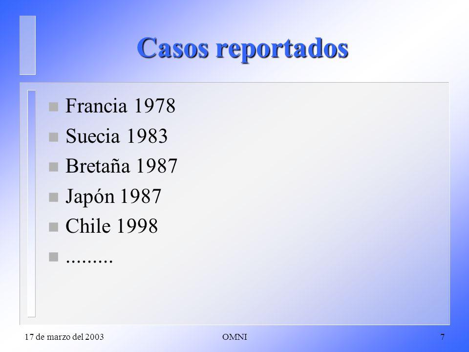 17 de marzo del 2003OMNI7 Casos reportados n Francia 1978 n Suecia 1983 n Bretaña 1987 n Japón 1987 n Chile 1998 n.........