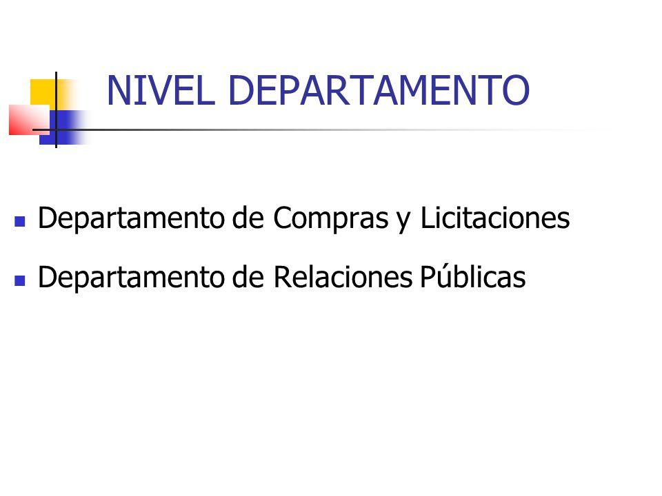 NIVEL DEPARTAMENTO Departamento de Compras y Licitaciones Departamento de Relaciones Públicas