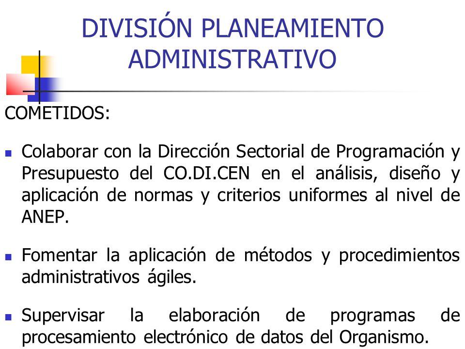 DIVISIÓN PLANEAMIENTO ADMINISTRATIVO COMETIDOS: Colaborar con la Dirección Sectorial de Programación y Presupuesto del CO.DI.CEN en el análisis, diseñ