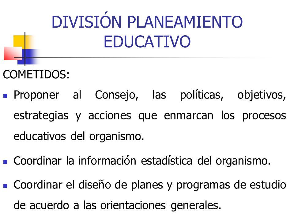DIVISIÓN PLANEAMIENTO EDUCATIVO COMETIDOS: Proponer al Consejo, las políticas, objetivos, estrategias y acciones que enmarcan los procesos educativos