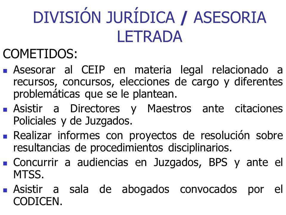 DIVISIÓN JURÍDICA / ASESORIA LETRADA COMETIDOS: Asesorar al CEIP en materia legal relacionado a recursos, concursos, elecciones de cargo y diferentes