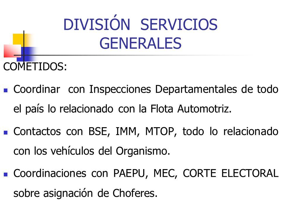 DIVISIÓN SERVICIOS GENERALES COMETIDOS: Coordinar con Inspecciones Departamentales de todo el país lo relacionado con la Flota Automotriz. Contactos c
