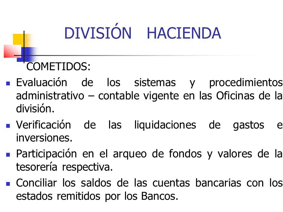 DIVISIÓN HACIENDA COMETIDOS: Evaluación de los sistemas y procedimientos administrativo – contable vigente en las Oficinas de la división. Verificació